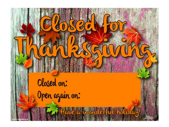 Tactueux image inside closed for thanksgiving sign printable