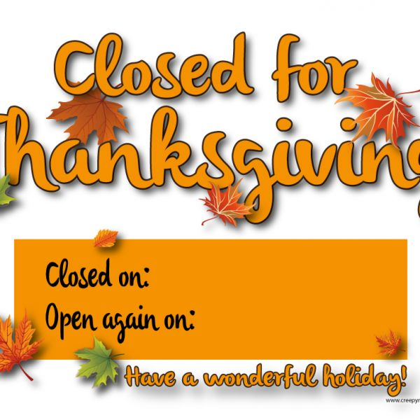 closed for thanksgiving sign for office template