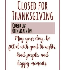 Thanksgiving printable sign