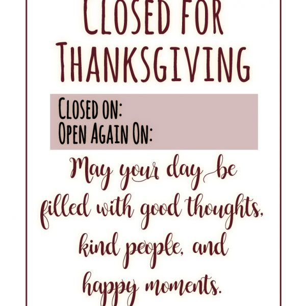 Clever image inside closed for thanksgiving sign printable