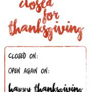 free closed for Thanksgiving sign