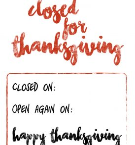 Rare image within closed for thanksgiving sign printable