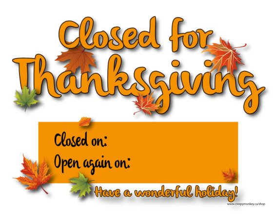 image about Closed for Thanksgiving Sign Printable identified as Shut For Thanksgiving -01a