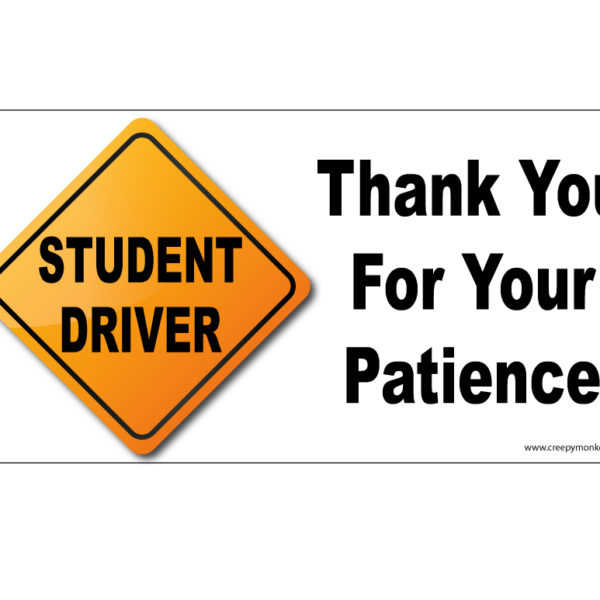 picture about Student Driver Sign Printable called Pupil Driver Signal